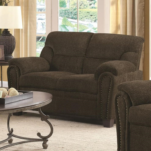 Transitional Chenille Fabric & Wood Loveseat With Cushioned Armrests, Brown