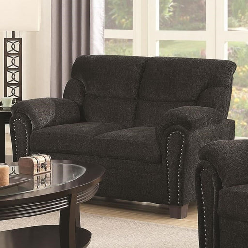 Transitional Chenille Fabric & Wood Loveseat With Cushioned Armrests, Charcoal