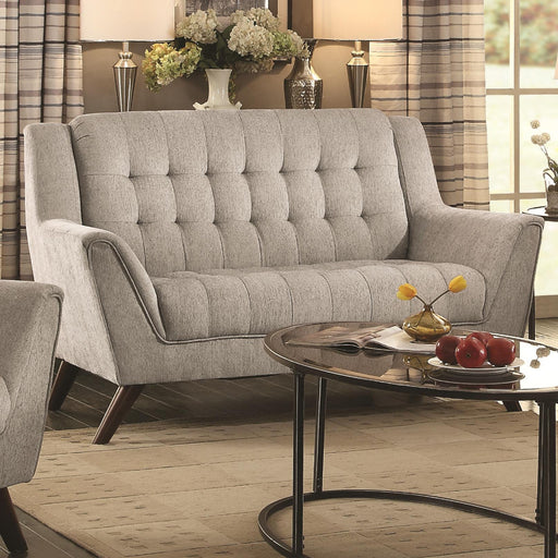 Transitional Chenille Fabric & Wood Loveseat With Tufted Seating, Dove Gray