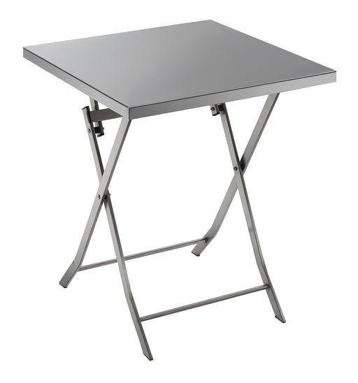 Industrial Styled Metal Folding Table with Cross Legs, Silver