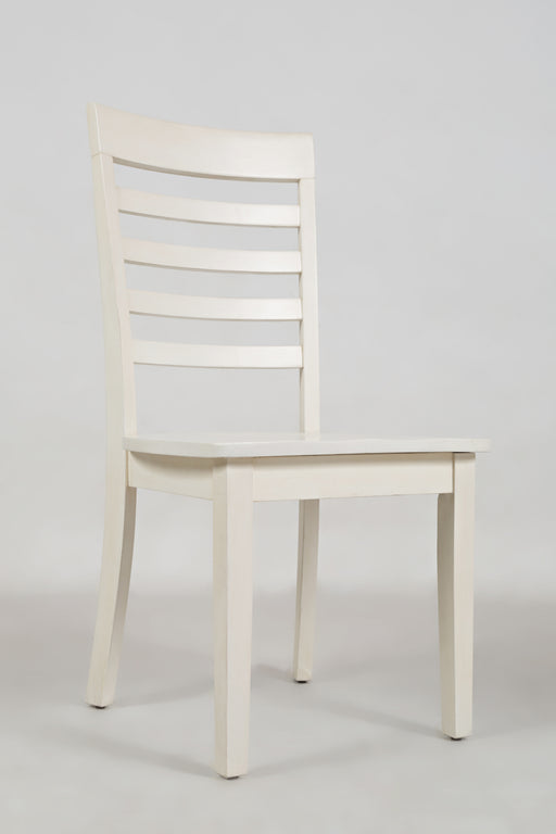 Wooden Dining Chair with Ladder Back Design, Set of Two, White