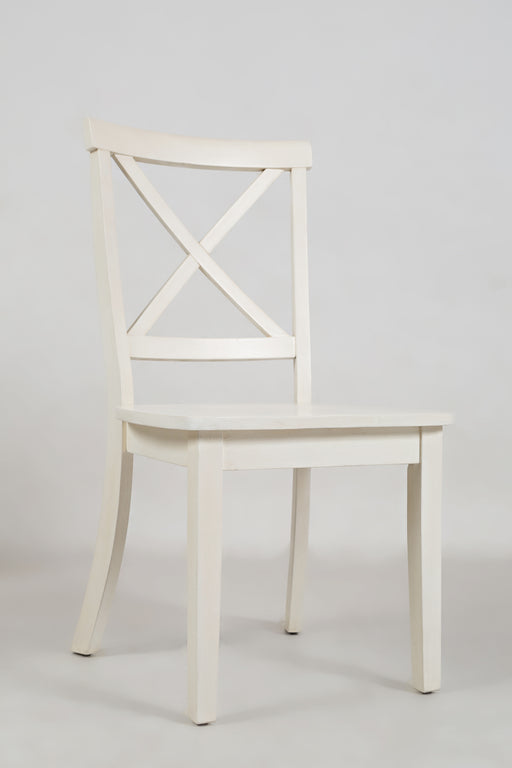 "Wooden Dining Chair with ""X"" Cross Back Design, Set of Two, White"
