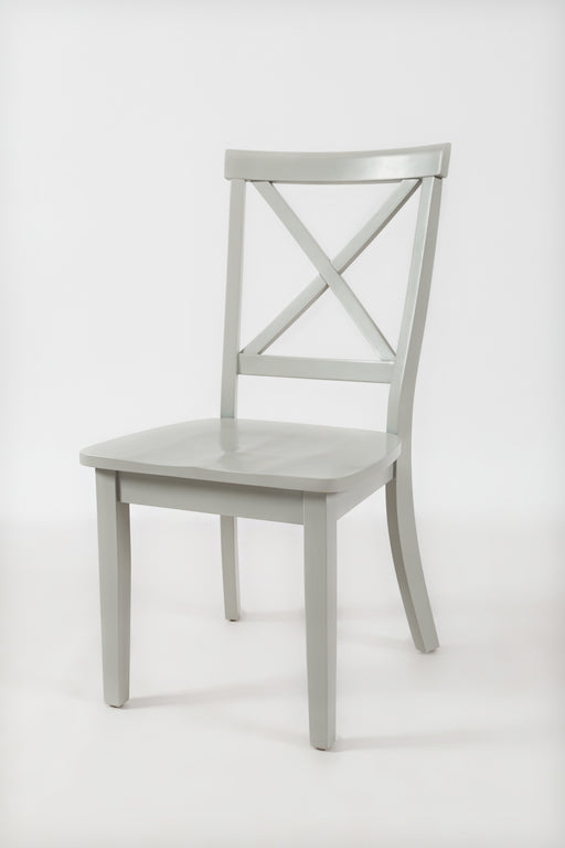 "Wooden Dining Chair with ""X"" Cross Back Design, Set of Two, Light Gray"