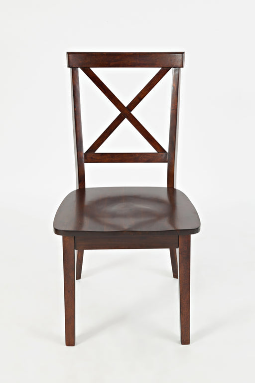 "Wooden Dining Chair with ""X"" Cross Back Design, Set of Two, Espresso Brown"