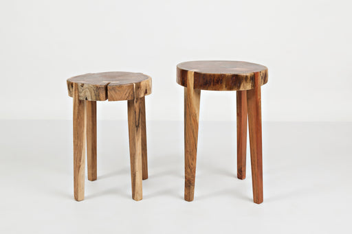 Wooden Round Accent Tables With Tappered Legs, Set Of Two, Brown