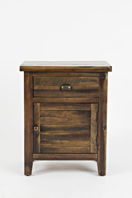 Wooden Accent Table With Drawer and Door Storage,  Oak Brown