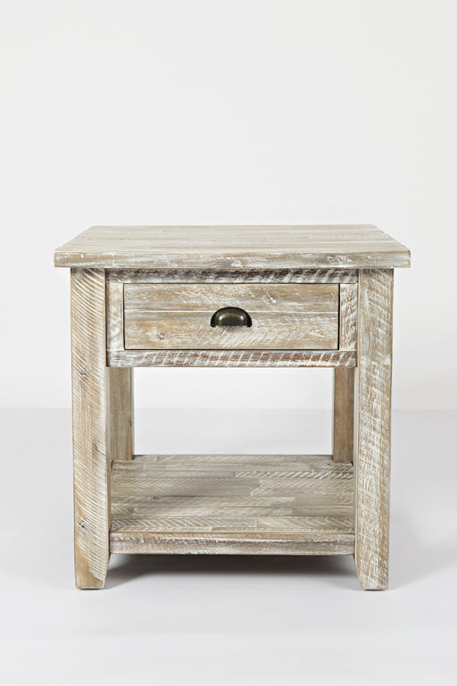 Wooden End Table With Open Shelf, Washed Gray