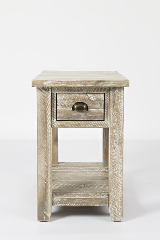 Wooden One Drawer Chairside Table In Washed Gray Finish