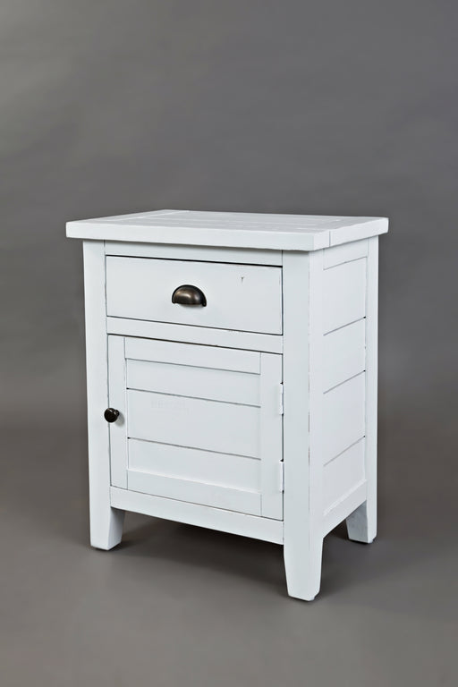 Wooden Accent Table With Spacious Storage, Weathered White