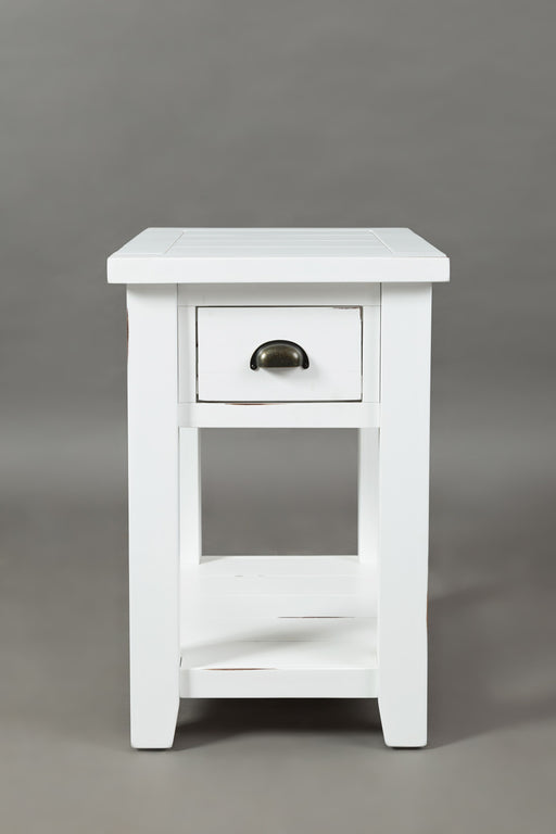 Wooden One Drawer Chairside Table In Weathered White Finish