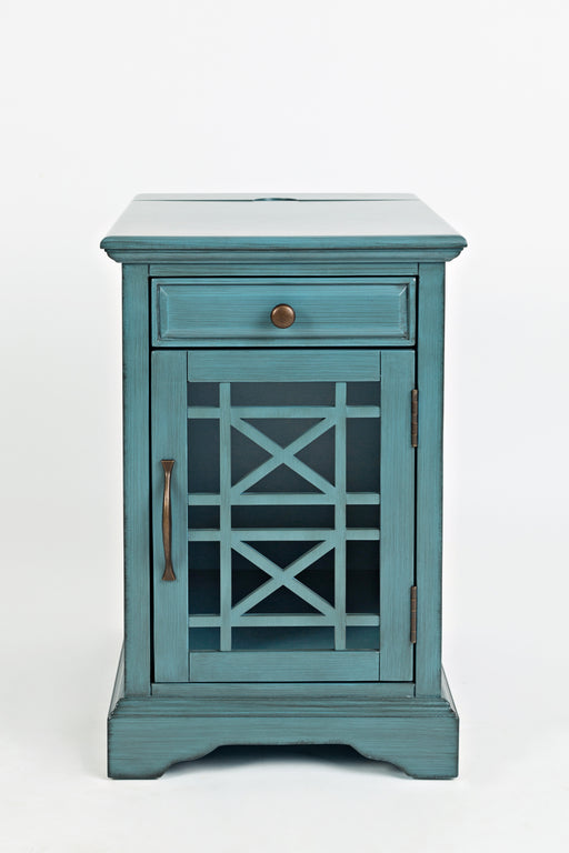 Wooden Chairside Table With Hidden Power Charger, Antique Blue