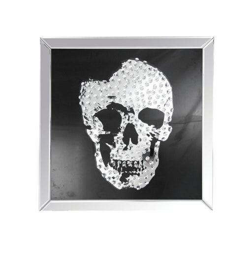 Square Shape Mirror framed Skull Wall Decor With Crystal Inlays, Black & Silver