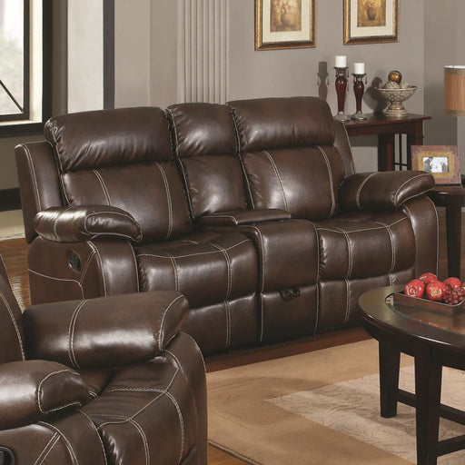 Contemporary Plush Bonded Leather Motion Loveseat With Console, Dark Brown