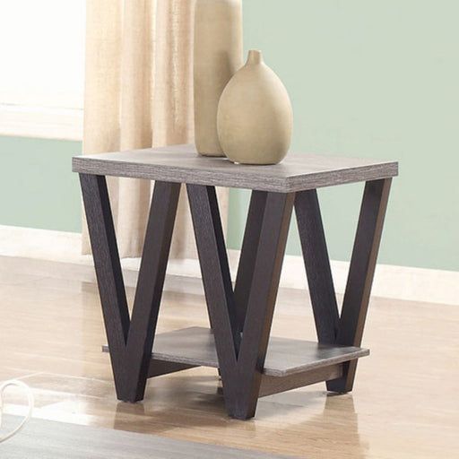Zig-zag Contemporary Solid Wooden End Table With Bottom Shelf, Gray And Black
