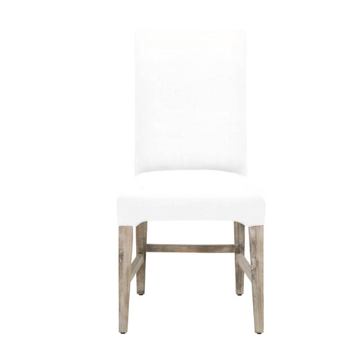 Wooden Upholstered Armless Dining Chair With Flared Back Feet, White, Set of Two