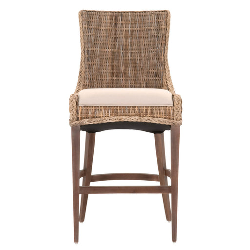 Upholstered Barstool With Braid Edge Detail With Slanted Feet, Brown, Set Of Two