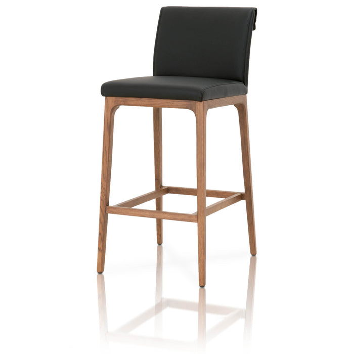 Wooden Barstool With Leather Upholstery, Black and Brown