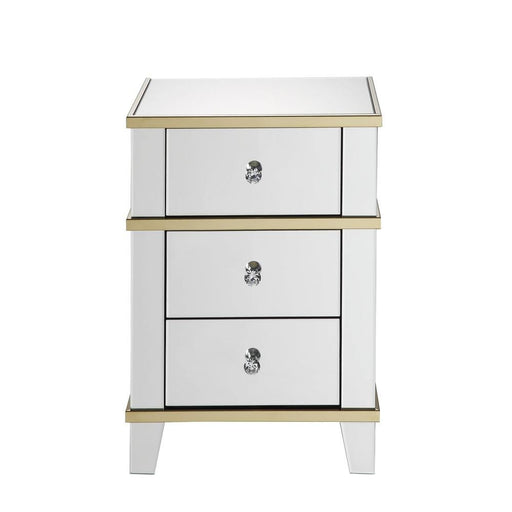 Wood & Mirror Nightstand with Crystal Knobs, Silver