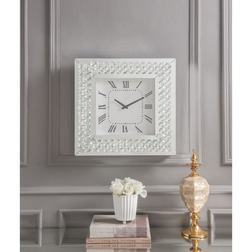 Wood & Mirror Square Analog Wall Clock, White