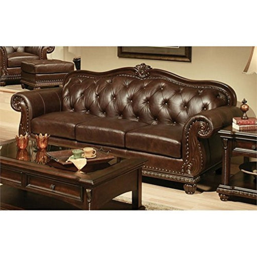 Vintage Wood and Leatherette Sofa with Nail head Trim, Espresso Brown