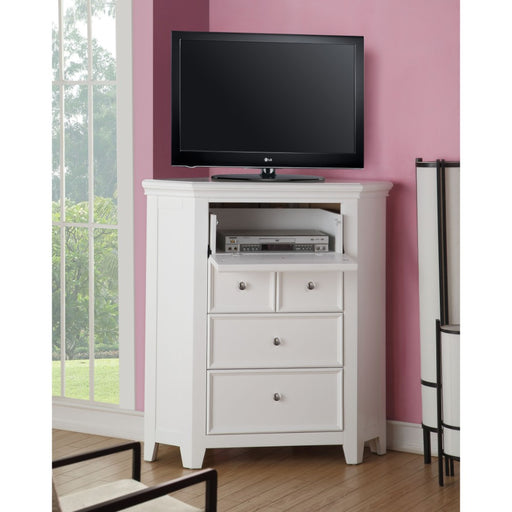 Contemporary Wood TV Console with 4 Drawers and 1 Media Compartment, White