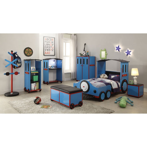 Contemporary Style Metal and Leatherette Bed with Train Design Twin Bed, Blue