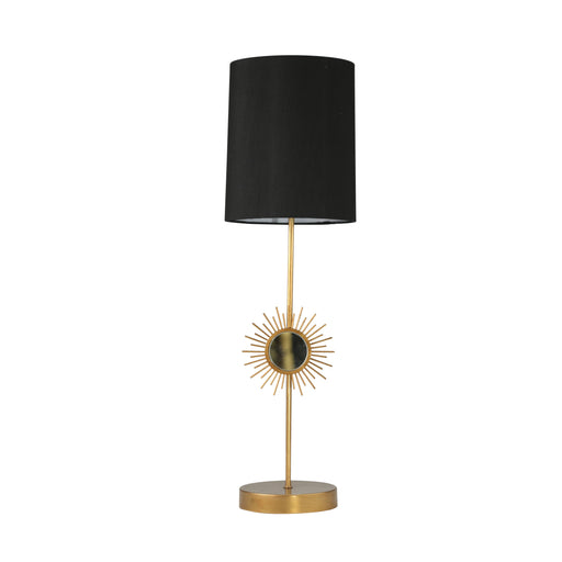 Steel Table Lamp with Mirrored Starburst Centerpiece, Gold and Black