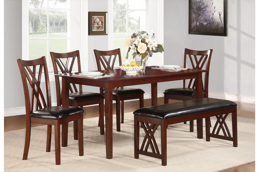 Wooden Dining Table with Leatherette Seat Chairs and Bench, Brown and Black, Pack of Six