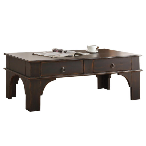 Wooden Rectangular Coffee Table with Two Drawers and Designer Base, Espresso Brown