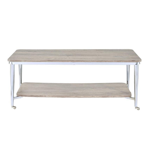 Wooden Rectangular Coffee Table with Open Bottom Shelf and Caster Legs, Oak Brown and Silver