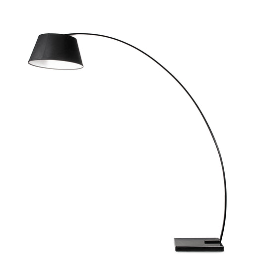Metal Floor Lamp with Fabric Adjustable Shade and Marble Base, Black