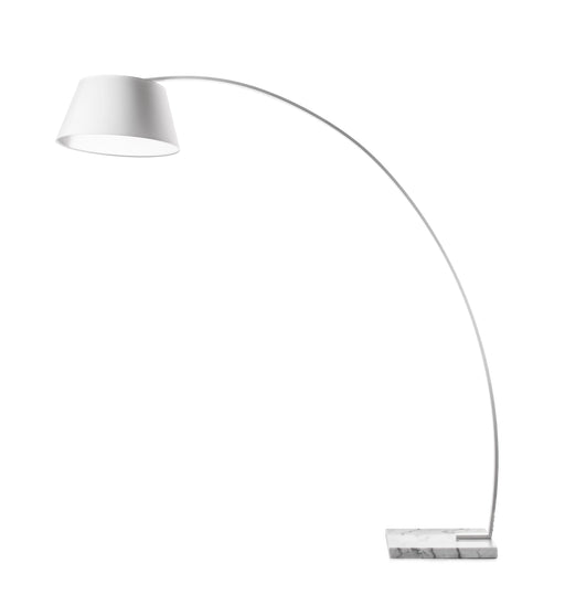 Metal Floor Lamp with Fabric Adjustable Shade and Marble Base, White