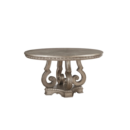 Wooden Dining Table with Polyresin Carvings and Pedestal Base, Champagne Gold