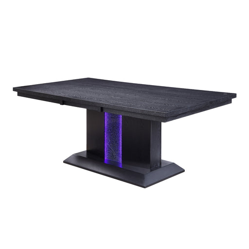 Wooden Dining Table with LED Light, Black