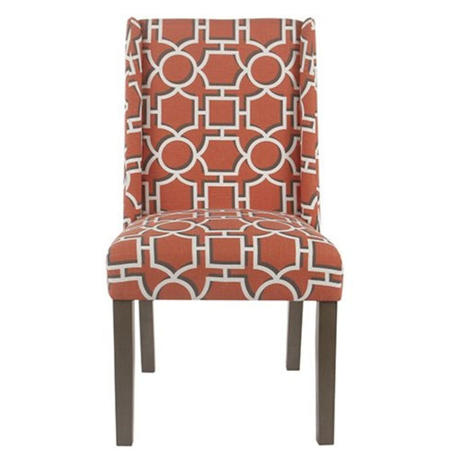 Wooden Parson Dining Chairs with Trellis Patterned Fabric Upholstered Seating, Red, Set of Two
