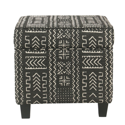 Wooden Ottoman with Tribal Patterned Fabric Upholstery and Hidden Storage, Black and White