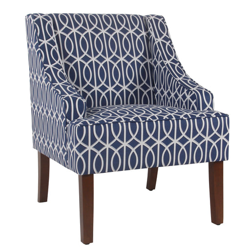 Wooden Fabric Upholstered Accent Chair with Swooping Armrests, Multicolor