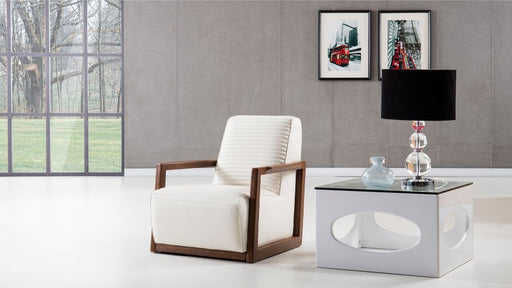 Wooden Framed Accent Chair with Leatherette Seat and Back, White and Brown