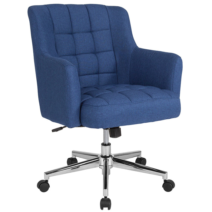 Blue Fabric Mid-Back Chair - UNQFurniture