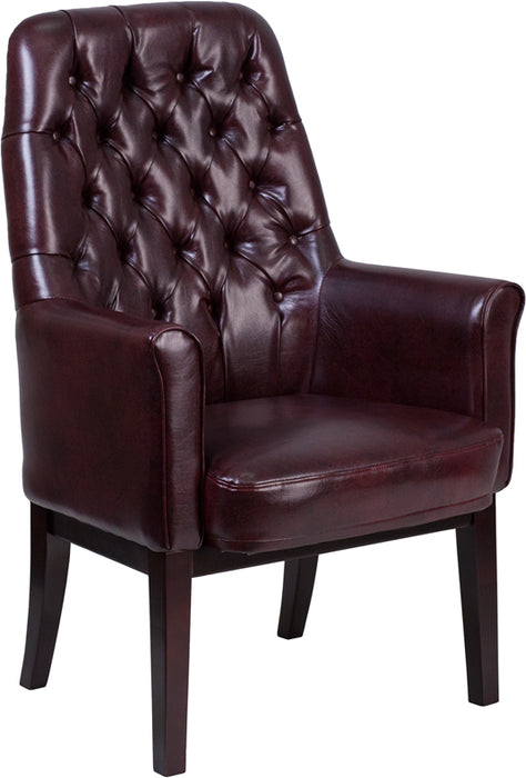 Burgundy Leather Side Chair - UNQFurniture