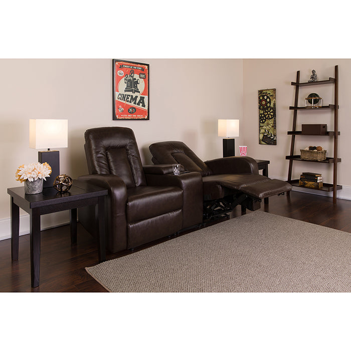 Brown Leather Theater - 2 Seat - UNQFurniture