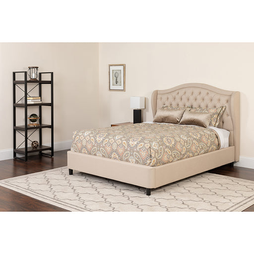 King Platform Bed Set-Dk Gray