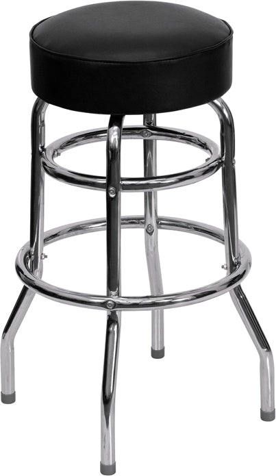 Red Double Ring Chrome Stool - UNQFurniture