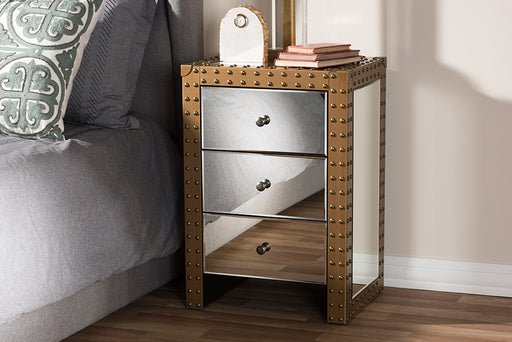 Baxton Studio Azura Rustic Industrial Style 3-Drawer Mirrored Nightstand