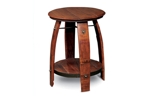 BARREL SIDE TABLE W/ SHELF - UNQFurniture