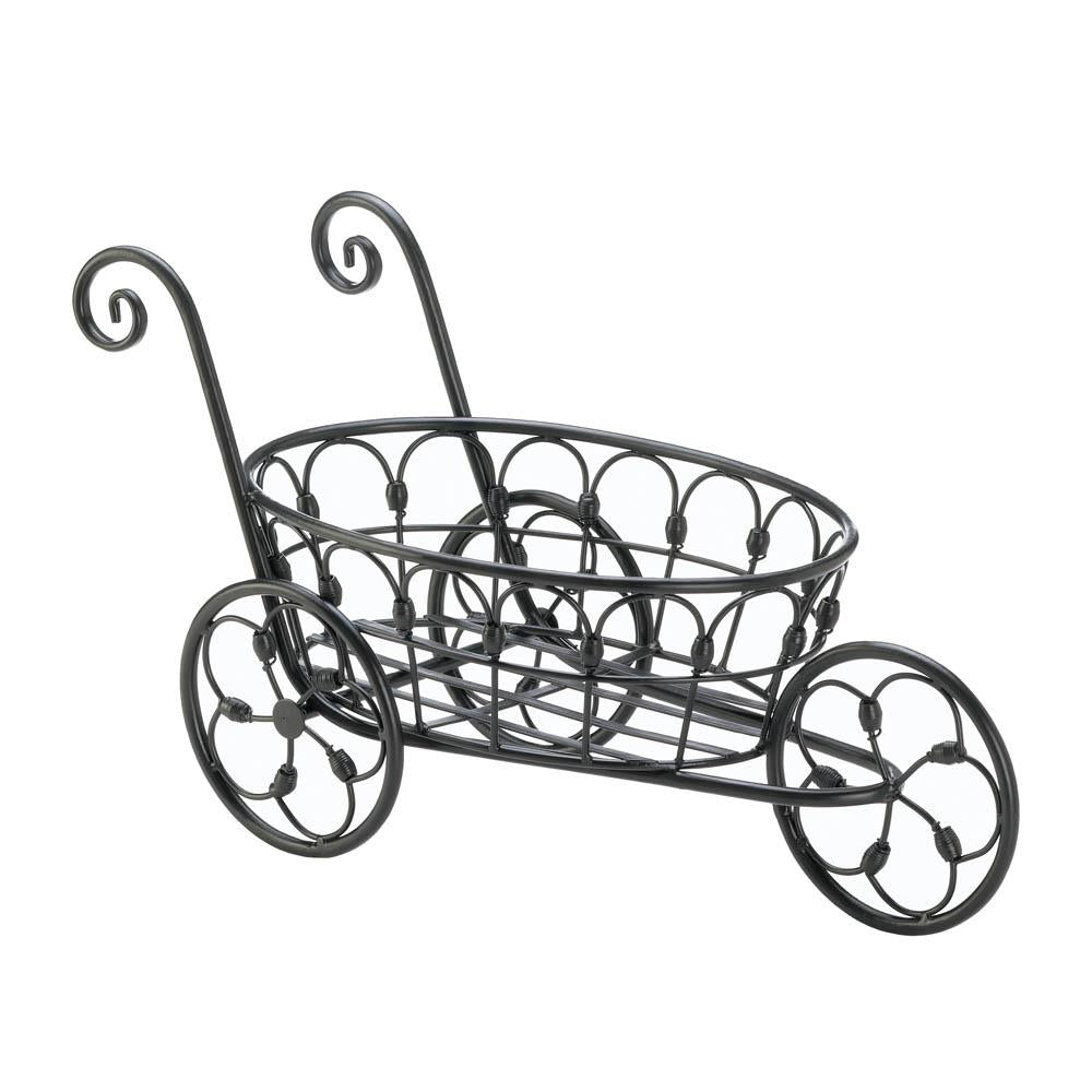 Black Iron Flower Cart - UNQFurniture