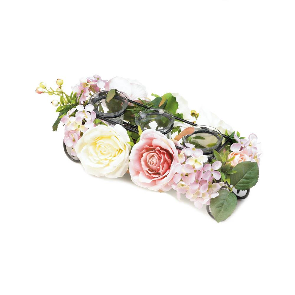Blooming Faux Floral Candle Holder - UNQFurniture
