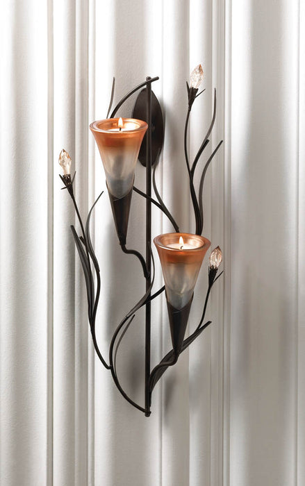 Dawn Lilies Candle Wall Sconce - UNQFurniture