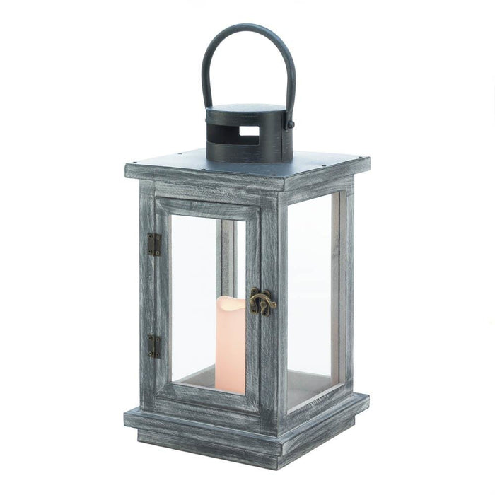Distressed Gray Lantern with LED Candle - UNQFurniture