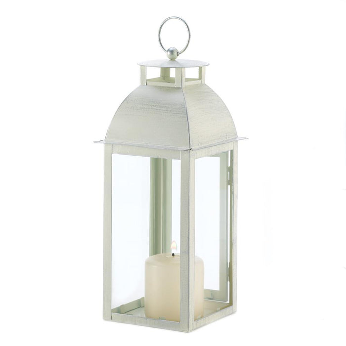Distressed Ivory Candle Lantern - UNQFurniture